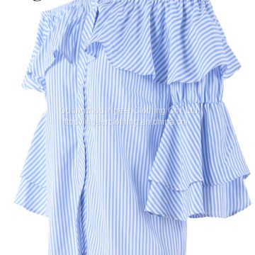 Off Shoulder Ruffled Sleeve Button Down Striped Shirt Top