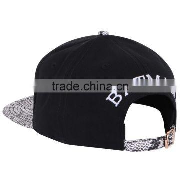 55e36e9e8 China Made Embroidery Hat All Black round top leather Custom ...