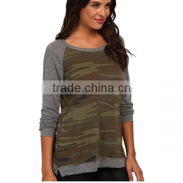 Hot sale wholesale 100 polyester raglan camo t shirt