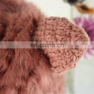 Cute cat ear hat high quality rabbit fur knitted acrylic hat for lady winter