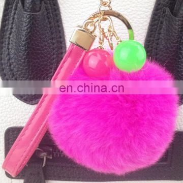Latest style 8cm rex rabbit fur ball key ring candy colors fur ball key chain