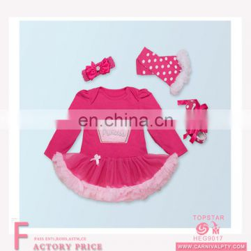 New fashionable baby children kids lace dresses set red cotton long sleeveless skirt +shoes +rosette
