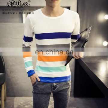 Peijiaxin Fashion Design Casual Style Long Sleeve Slim Striped Tshirt Men Cheap China Wholesale Clothing