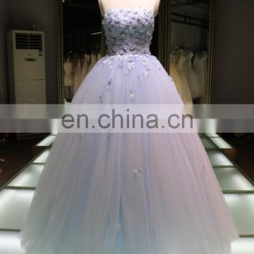 China wholesale evening dress Panyu bridal new arrival ball gown applique wedding dress 2016