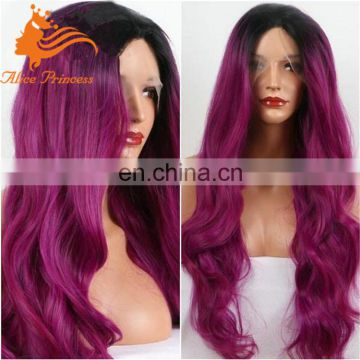 brazilian hair ombre color full lace wig for fashion woman 8a purple human hair wig double drawn lace wigs with bleach knots