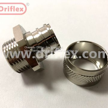 Driflex brass nickel plated straight Swivel Cable Conduit Fitting
