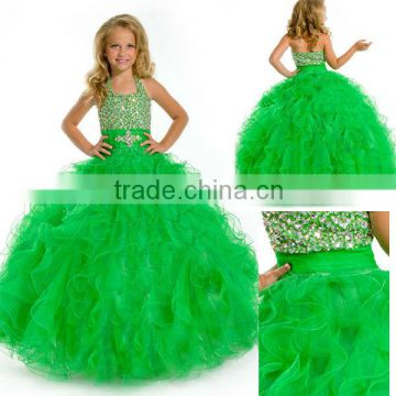 2014 sequined beaded ruffled skirt ball gown long green little girls pageant dress CWFaf5767