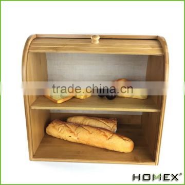Wholesale bamboo bread box durable wooden storage box Homex-BSCI