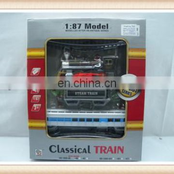 Hot sale kids smoke train toy sets, railway toy