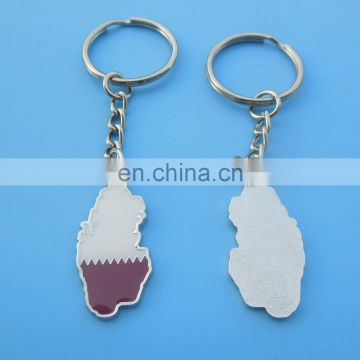 Hot Sale Qatar National Day Country Map Enamel Keychain Keyring Silver