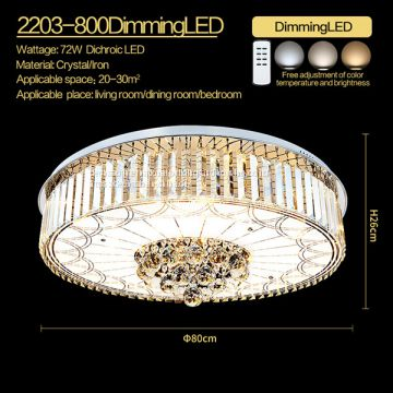 Remote control dimming led living room crystal ceiling lamp