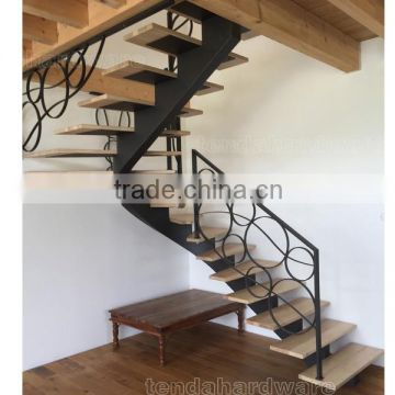 Single Stringer Curved Carbon Steel Wood Stair With Wrought Iron Railing