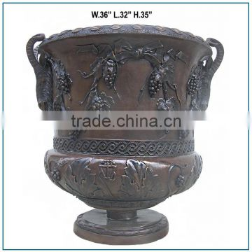 Gothic Large Size Antique Bronze Vase with Grapes and Leaves
