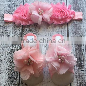 Fashionable Baby Girl Clothing Set Pink Flower Headband And Barefoot Sandal Set For Infant Fancy Kids Wear NP-G-CS905-29