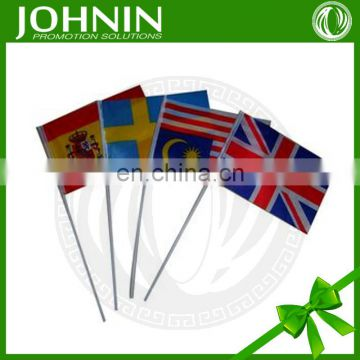 quality promotional printing polyester hand weaving plastic flag stick