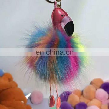 Christmas gift Fur Key Chain Pom Pom Car key Ring Bag Decoration