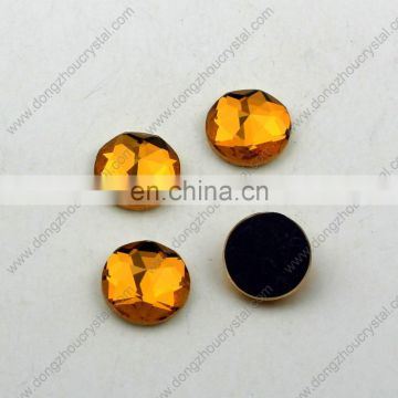 DZ-1011M round machine cut flat back glass stones