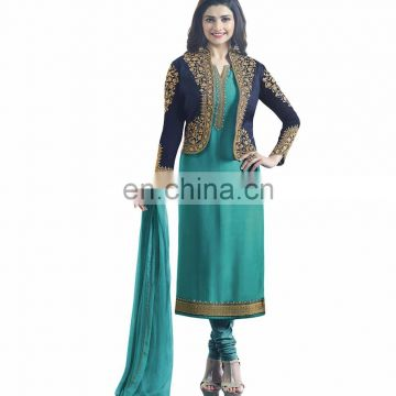 Dhupion Koti Style 2017 Semi-Stitched Dress Material Salwar Kameez For Casual Party Wear (salwar kameez Suits)