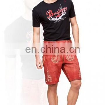German-Bavarian-Oktoberfest-Trachten-Short-Length-Lederhosen-Men's Leather Shorts antique Red