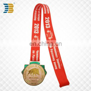 custom gold medal with engraving for weight lifting game in Moscow