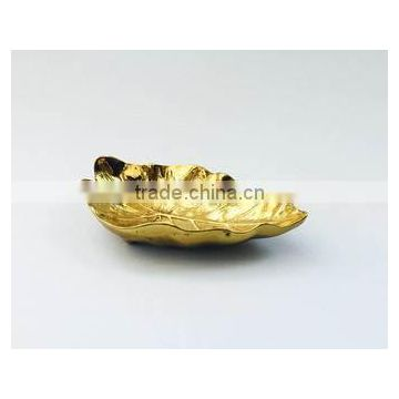 gold plated leaf design bowl