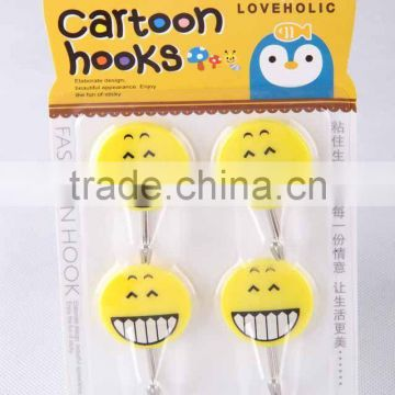 4pc small round hook with expression patterns/plastic hook