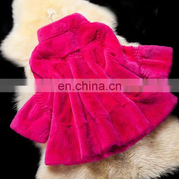 Rose color high quality rex rabbit fur overcoat wholesale for winter
