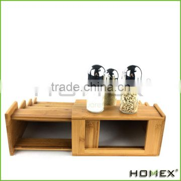 Bamboo spcie shelf--expandable spice rack Homex-BSCI