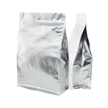 Custom printed zipper top laminated aluminum foil flat bottom stand up pouch for snack food packaging bags