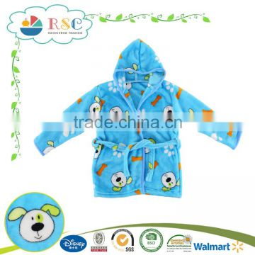 New design 100% polyester beautiful kids robes bathrobe