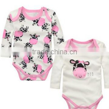 2016 newborn hapy cotton long-sleeved triangle Romper Pink Cow Series branded baby winter clothing
