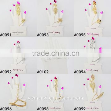 Factory direct price rose gold plate crystal leaf bracelet with ring A0070