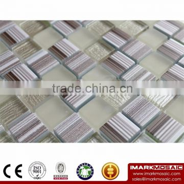 IMARK Gray Wood Texture Glass Mosaic With Misty Glass Mosaic Tile And Painting Glass MosaicTile