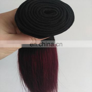 Ombre color 1B/99J top quality human hair weaves large in stock factory direct sale two tone indian hair extensions