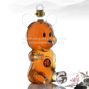 1000ml Handmade Animal Shaped Mouse Shape Wine Glass Bottle Mickey Glass Crafts