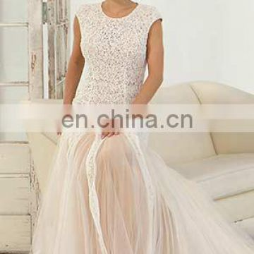Cap sleeve trumpet bridal gown