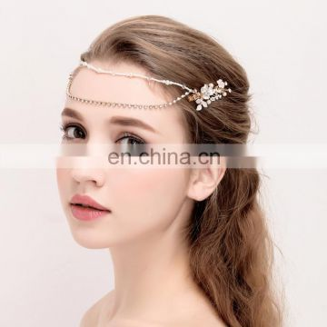 Amelie Handmade Boho Hair Accessories Rhinestone and Pearl Head Chain Wedding Tiara Headband Jewelry Pink Flower Hairbands