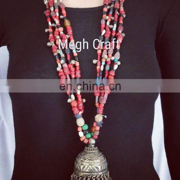 vintage Pearl Baeded jewelry- Indian Designer Tribal Fusion Jhumar Necklace- Afghani Old Coin NECKLACE-