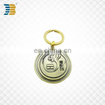 cheap direct sell custom bronze engraved metal keychain with keyring