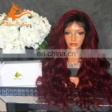 Ombre Virgin Peruvian Hair Product 1BTBug Body Wave Full Lace Wig Free Parting 99J Remy Human Hair Wigs With Baby Hair