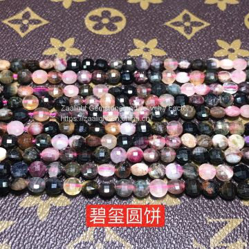 Wholesale gemstone beads coin faceted Rose Quartz natural stone beads for jewelry making