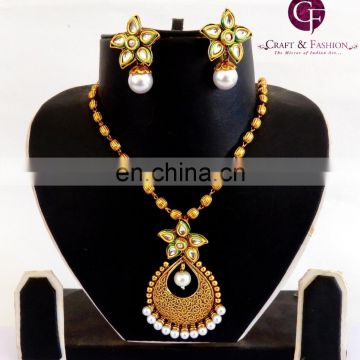 Indian Traditional kundan pendant set-Designer Exclusive Indian Costume Imitation sets-Wholesale Antique Gold Plated pendant set