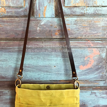 waxed canvas cross body bag with long shoulder