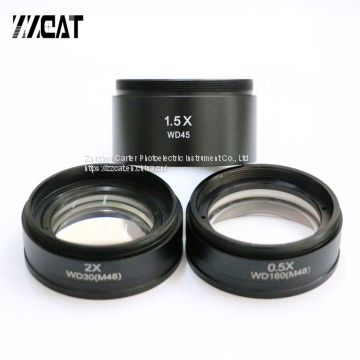 0.5X 1X 1.5X 2X Barlow Auxiliary Microscope Objective Lens Thread 48mm Mount Digital Stereo Microscope Lens for Changing View