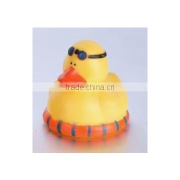 PVC baby bath toy floating swim ring printed duck