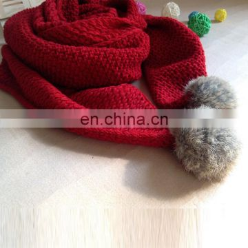 Winter fashion knitted women scarf with genuine rabbit fur pompom