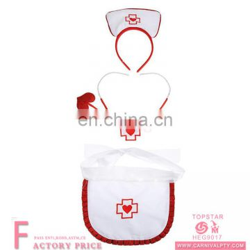 Nurse Headband Apron and Stethoscope Sexy Nurse Fancy Dress Costume Set