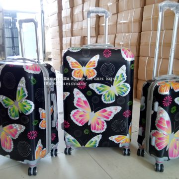 high quality butterfly design  PC   luggage  set  3pcs   travel  bag  aluminum  trolley  travel  case