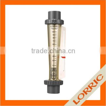 liquid rotameter flow meter with dual indicator and laser engraved degree scales for chemical and non-organic solvent operation