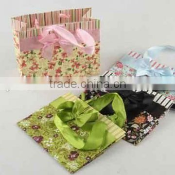 Flower Design Foldable Gift Bag With Bowknot/ Shopping Bag
